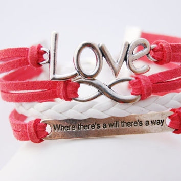 4 Strand Coral Red When There's a Will There's a Way Infinity Faux Leather Braid Cord Bracelet (Adjustable Sizing)