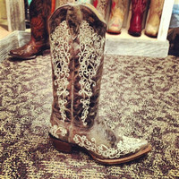"Leather And Lace AKA ""The Wedding Boot"" Corral Boots"