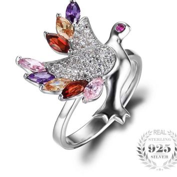 Women's Multicolor 925 Sterling Silver Bird Ring. A great gift for women or girls any occasion.