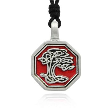 Celtic Tree Silver Pewter Charm Necklace Pendant Jewelry With Cotton Cord