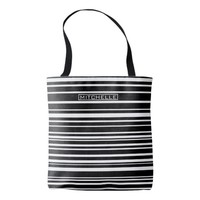 Personalized Black Uneven Stripes Tote Bag