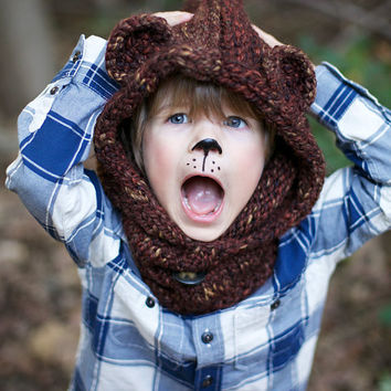 Animal Hoodie Knitting Pattern : Shop Knit Hat And Cowl on Wanelo