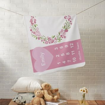 Baby Girls Milestone Photo Blanket Personalized