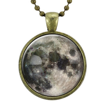 Full Moon Necklace On Bronze
