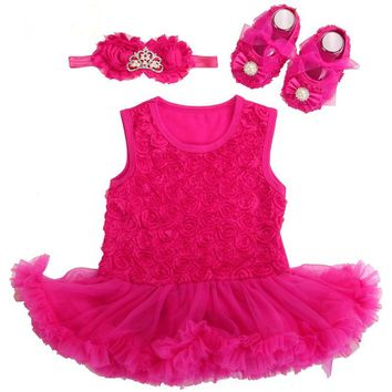 Baby Girl Dress Shoes Baby Headband Set,Vestido Ropa Bebe Menina,Newborn Baby Girl Clo