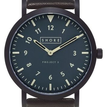 Shore Projects 'Morecambe' Leather Strap Watch, 39mm | Nordstrom