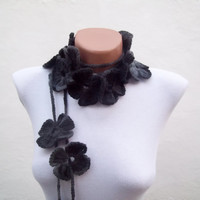 Hand crochet Lariat Scarf Black Grey  Flower Lariat Scarf Colorful Variegated Long Necklace Winter Accessories