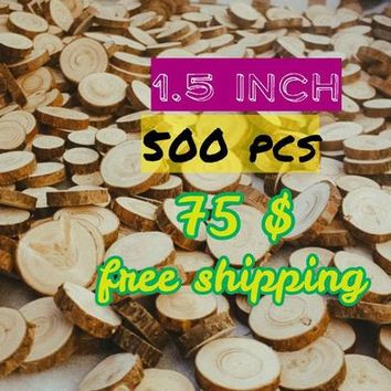 """500 pcs 1.5"""" tree slices, Pine of wood slices, Various blank slices, Floristry supply, Small Rustic Wood Circles, Branch Slices"""