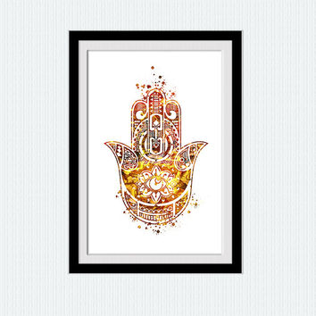 Hamsa poster Hamsa print Yoga watercolor poster  Yoga print Hamsa wall art  Yoga studio decoration Inspirational wall decor Wall art  W399