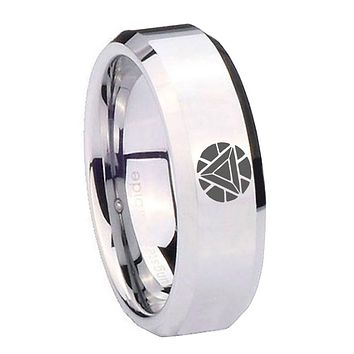 8MM Mirror Bevel Edges Iron Man Art Reactor Silver Tungsten Laser Engraved Ring