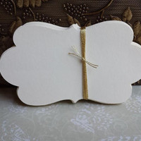 100 Ornate Ivory Scallop Tag, Bracket Tag, DIY Wedding, Escort Card, Bride And Groom Advice,  Place Card