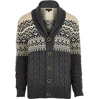 River Island MensEcru fair isle shawl collar cardigan
