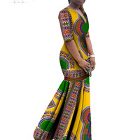 African Clothes Bazin Rich Dashiki Women Dress Trumpet Mermaid Dress Half Sleeve Plus Size African Clothing Maxi Dress 6XL WY406