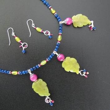 Handmade Necklace and Earring Set with Blue, Green and Hot Pink beads