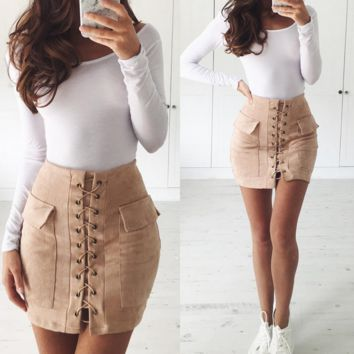 Fashion sexy lace up type double pocket package hip skirt Dark khaki