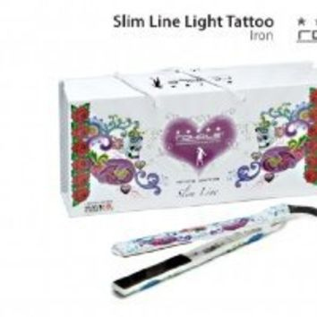 Royale Premium White Tattoo Ceramic Flat Iron / Hair Straightener .