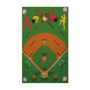Fun Rugs Fun Time Collection Home Kids Room Decorative Floor Area Rug Baseball Field -39X58