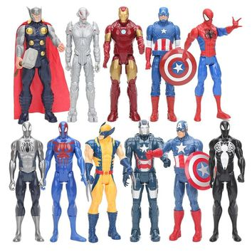 30cm Marvel Avengers Captain America Ironman Spiderman Thor Ultra Venom Wolverine PVC Action Figure Toy