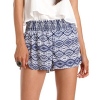 Smocked Waist Tribal Soft Short: Charlotte Russe