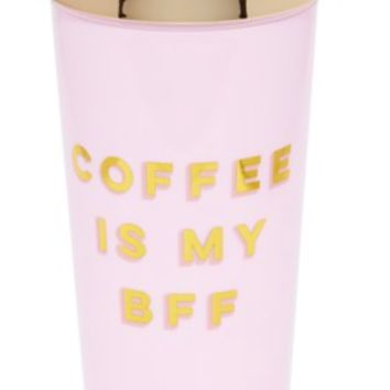 Coffee Is My BFF Pink and Gold Travel Mug