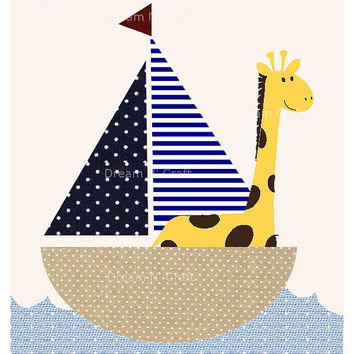 Giraffe Row Your Boat Nursery Art Print, Custom Baby Nursery Wall Decor - 8.5 x 11 - Pottery Barn Kids