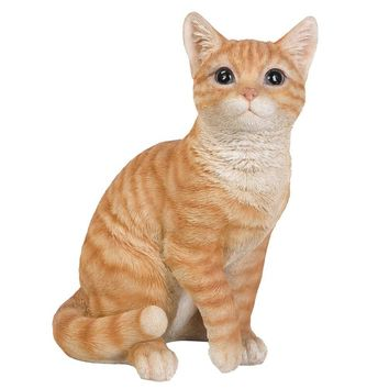 Realistic Looking Orange Tabby Cat Kitten Collectible Figurine Amazing Detail Glass Eyes Hand Painted Resin 12 inch Figurine Perfect for Cat Lover Collectible