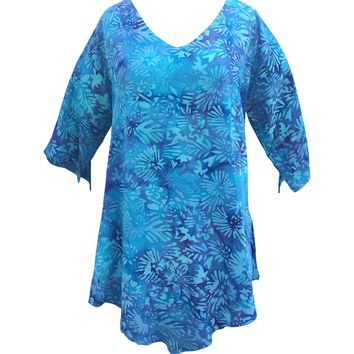 Lost River Batik 3/4 Sleeve Tunic Top - Wildberry