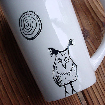 Hazel owl tall pottery coffee mug tea latte black and white kiln fired