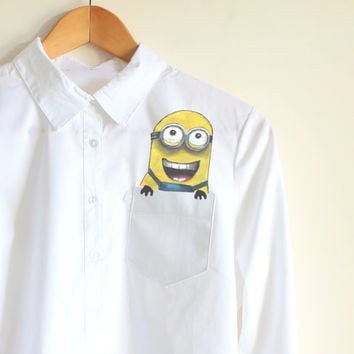 Minion handpainted shirt, pocket shirt, minion in the pocket, cute funny clothing, unique gift