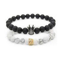 His And Hers Crown Bracelet Set