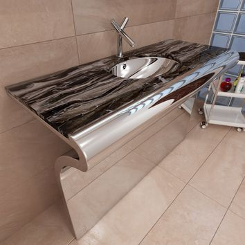 "Venti Single Sink Bathroom Vanity Console Stainless Steel 24""/ 30""/ 32"" / 36"""