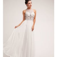 Off White Beaded Lace & Chiffon Halter Gown 2015 Prom Dresses