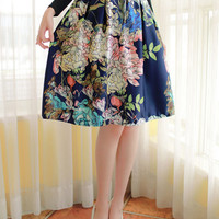 Blue Floral Printed Pleated Midi Skater Skirt
