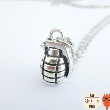 Jewelry - Grenade Necklace - Gift for Him - Gift For Her - Unisex - Weapon - Military - Antique Silver - Choose your Chain