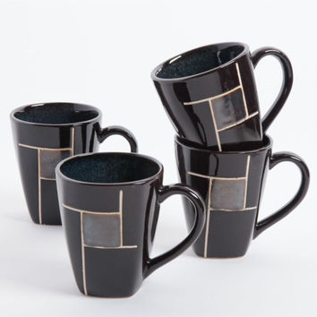 Gibson Elite Azeal 4 Pack 14oz Mugs - Black