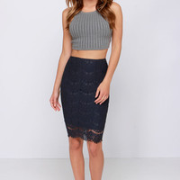 Lace in Line Navy Blue Lace Midi Skirt