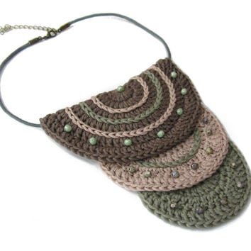 Crochet bib necklace,crochet cotton necklace,fiber necklace,pale pink,brown,pale forest green,ethnic,gypsy,gift for her,native inspired