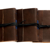 hand sewn leather journal, leather notebook, travel journal, travel notebook, leather diary, hand bound blank book brown