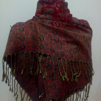 Soft Pashmina scarf oversize red scart shawl gift for mom mother day from daughter son husband fashion accessories christmas gifts