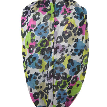 Modern Retro Funky Colorful Animal Print Leopard Infinity scarf