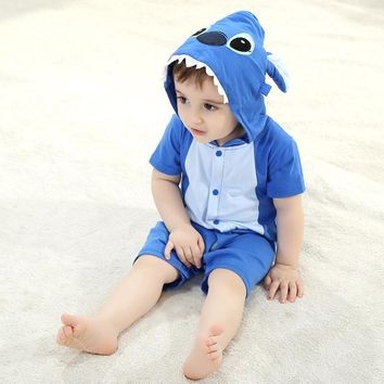 Summer Baby Clothes Short Rompers Cartoon Animal Blue Rose Stitch Cosplay Photo Props Jumpsuit Newborn Infant Sleepers Hooded
