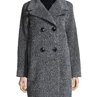 Double-Breasted Cocoon Coat, Black/White, Size: