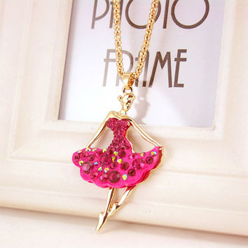 Novelty Ballet Ballerina Dancer Girl Rhinestone Long Necklaces & Pendants Souvenir Gift Women Crystal Jewelry X606