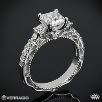 Platinum Verragio Scalloped Princess 3 Stone Engagement Ring