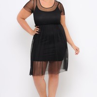 Plus Size Mesh Dress - Black