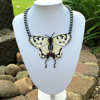 White and Black Beaded Butterfly with Haematite Beads