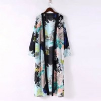 women vintage Ink flower print blouse bat sleeve Split chiffon long Kimono shirt 2016 Summer Casual loose Female tops coat