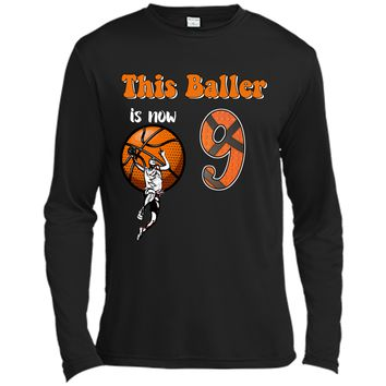 9th Birthday Basketball T-Shirt Funny 9 Years Old Gift Long Sleeve Moisture Absorbing Shirt