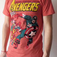 Avengers T Shirt Superhero Ironman Captain America Women Short Sleeve T Shirts red Tee Shirts Men Shirts Women Unisex T-Shirt Size M