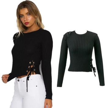 Women's Fashion Sweater Crop Top Knit Tops Winter Bottoming Shirt [31068192794]